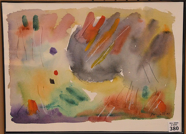 "GEORGE DANIELL, American 1911-2002, ""Change in the Weather"", watercolor on heavy paper 12"" x 16"", signed lower right and titled verso, framed"