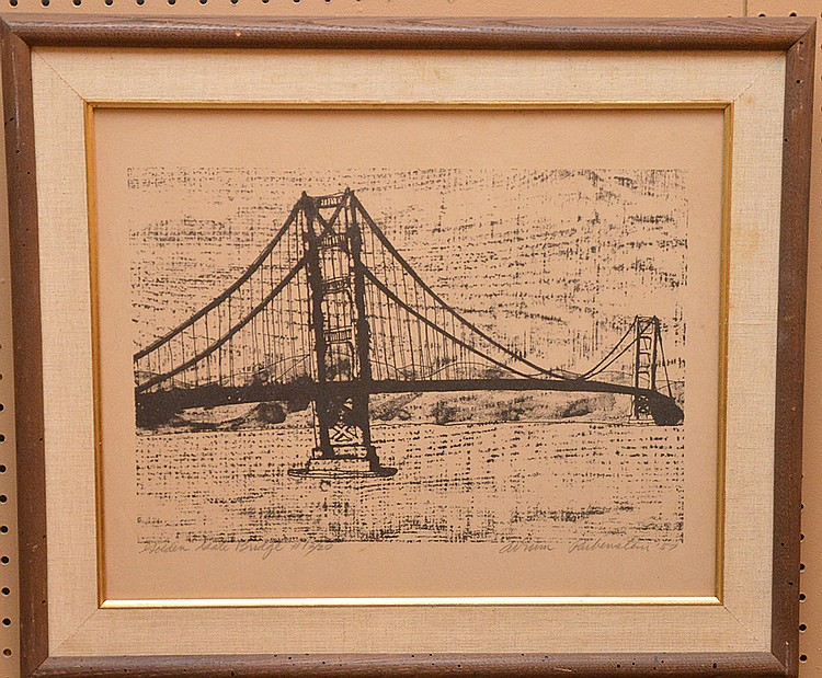 "RUBENSTEIN, California 20th Century, ""Golden Gate Bridge"" original lithograph sight 15"" x 19"", limited edition 13/20, signed in pencil lower right, framed"