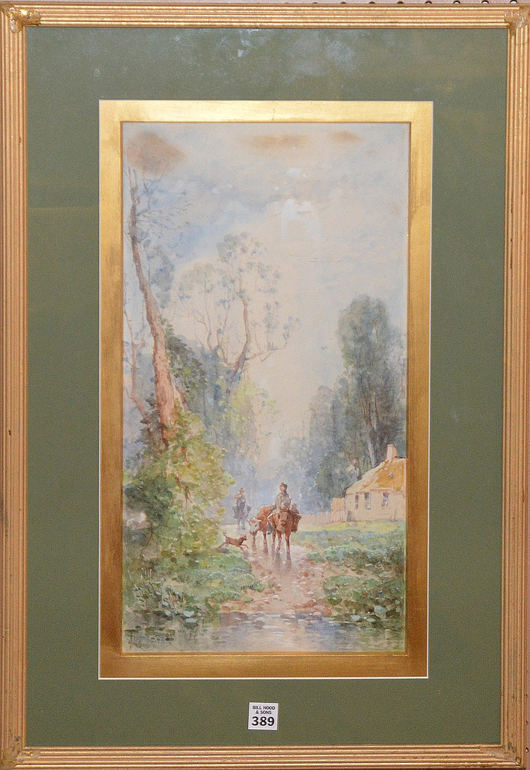 Andrew Melrose (AMERICAN, 1836-1901) Watercolor, figures on donkey on path, approx 20in. X 10in. Sight