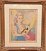 Marie Laurencin (FRENCH, 1885-1956) Lithograph, Girl w/ Mandolin, pencil signed & numbered , 30/250. image size 19in. X 15-1/2in.