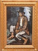 "PEDRO PIERRE CREIXAMS, Spanish 1893-1965,  ""Seated Boy with Top-Hat"" oil on canvas 28"" x 18"", signed lower right, framed"