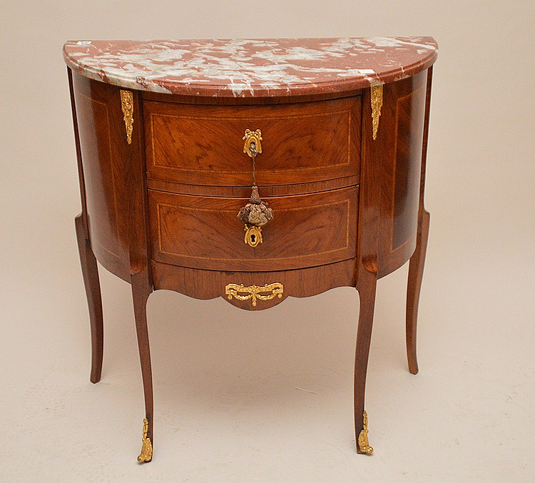 Mahogany & satinwood 2 drawer demi lune commode with marble top, 32 1/2