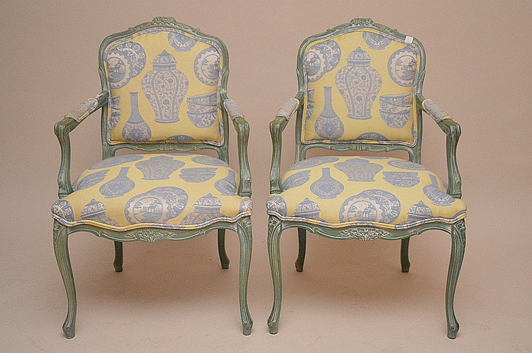 Pair Fauteuils, green washed French frame with matching upholstery