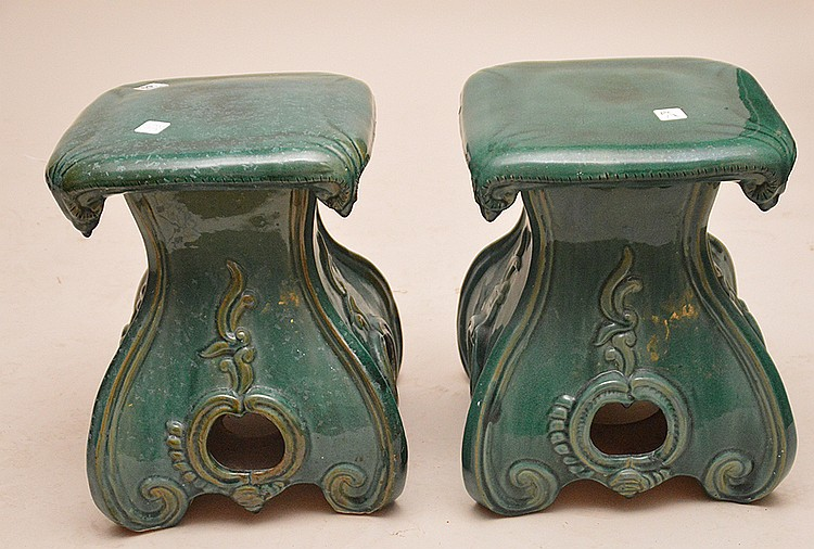 Pair green glazed ceramic garden seats, 15