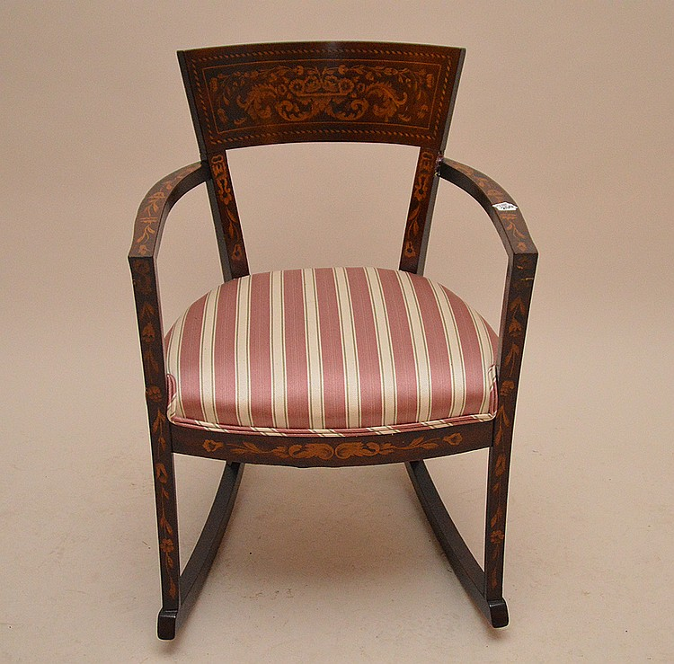 Marquetry wood rocker with stripe upholstery  (fine condition)