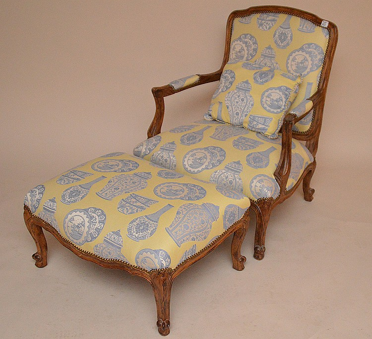 Oversized fauteuil chair with ottoman, yellow & blue upholstery