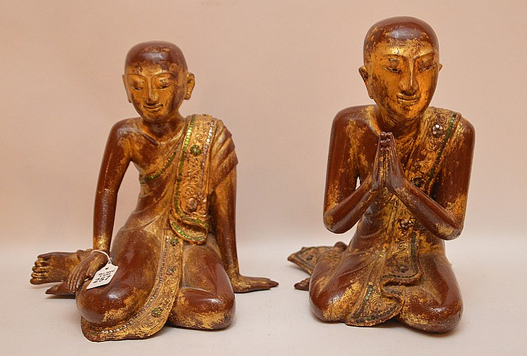 Pair Carved Gilt Wood Thai Buddha's. Ht. 13