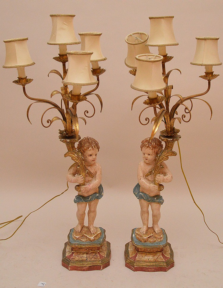 Craved figural painted lamps with 4 lights 35 inches high