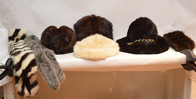 Vintage ladies minks (1) wide brim hat Kaufman NY label, (1) white mink hat with bergdorf goodman on the plaza NY label (1) brown mink with ribbon with herma-g NY label (1) blank and white mink collar, (1) gray and green mink collar and (1) muff
