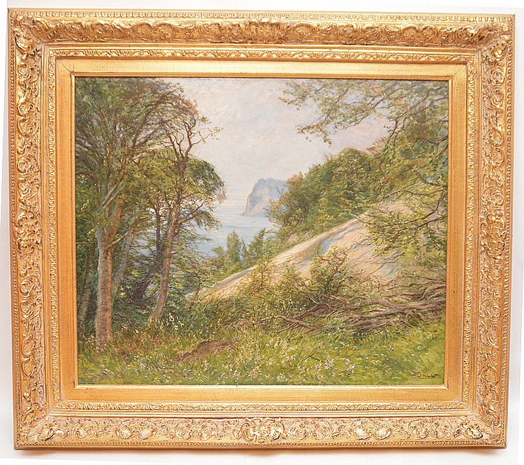 Mountain lake scene, oil on board, signed Dall, 24 inches x 19-1/2 inches