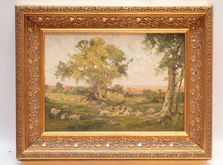 H.W. Robinson oil on board, Landscape with sheep, 10 inches x 14 inches
