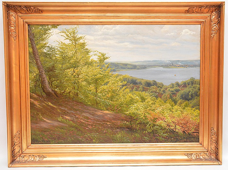 Continental School Mountain Landscape w/ lake, dated 1906, oil on canvas, 19-1/2 inches x 27 inches