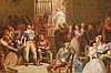19th Century French School oil on canvas on board, multiple figures in court scene, 13-3/4 inches x 25-1/2 inches