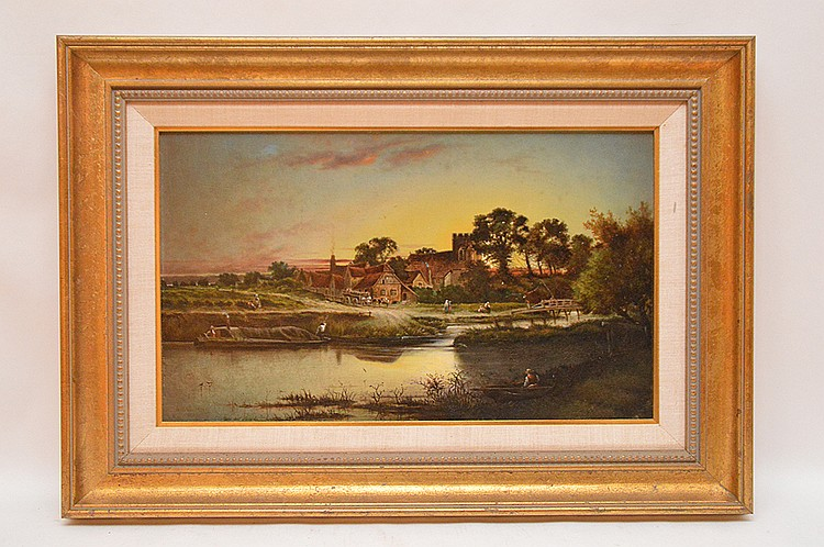 H. B. Northcote (BRITISH, Late 19th Cent.) Sunset on a Village by River, oil on artist board, approx. 12 inches x 20 inches , signed & dated 1893