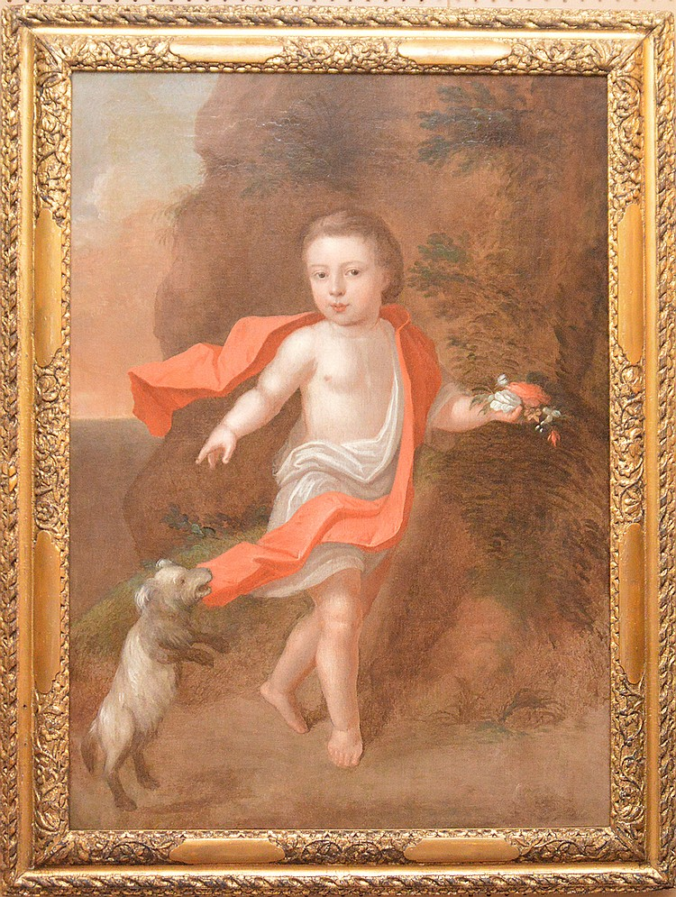 18th/19th Century Continental School, oil on canvas, Child w/ dog pulling red scarf,  canvas size is 43 inches x 30-1/2 inches
