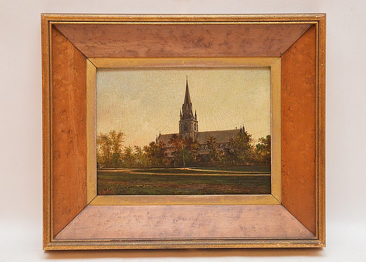 Northcote (BRITISH, Late 19th Cent.) Church Painting on artist board, approx. 8 inches x 11-1/2 inches signed dated 1867