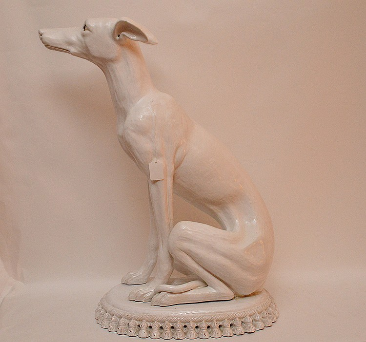 Vintage French Terra Cotta Painted Whippet. Ht. 27