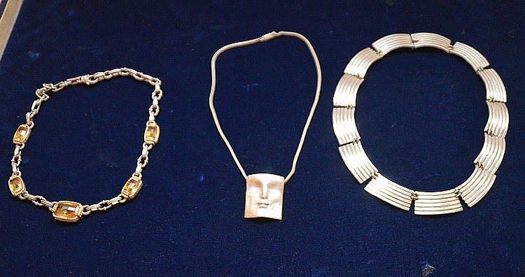 3 necklaces, (1) sterling face, (2) Judith Ripka sterling and gold link stone, and (3) silver reeded panels