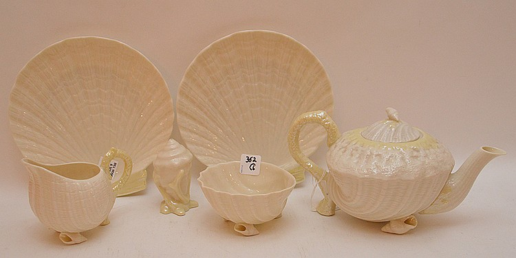 6pcs. Of Belleek, teapot, creamer, salt shaker, bowl, and 2 plates (8 1/2