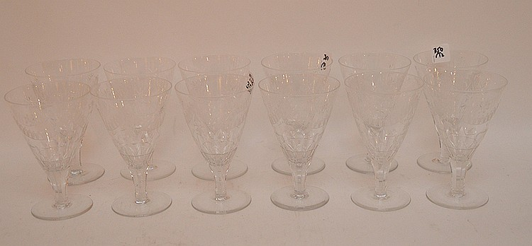 12 etched water glasses