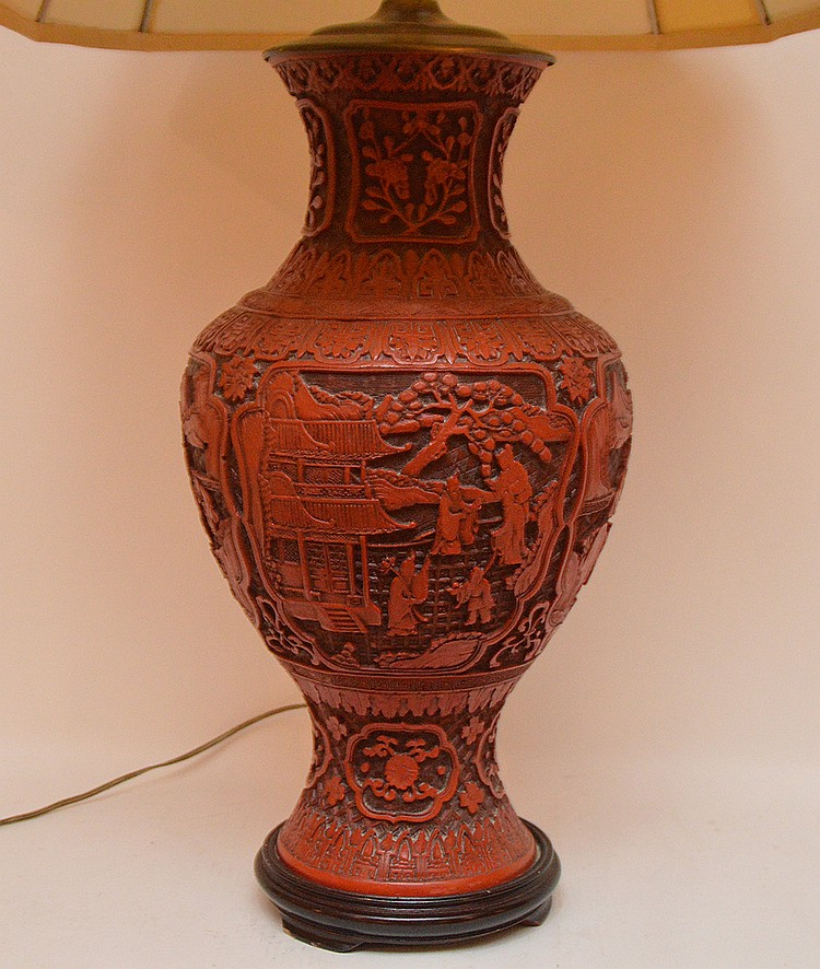 Large Carved Cinnabar Urn Form Lamp.  Ht. 20  Overall Ht. 38