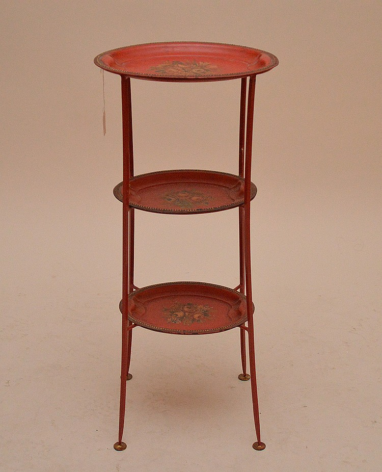 Red Antique Tole 3 Tier Stand with removable trays.  Ht. 28