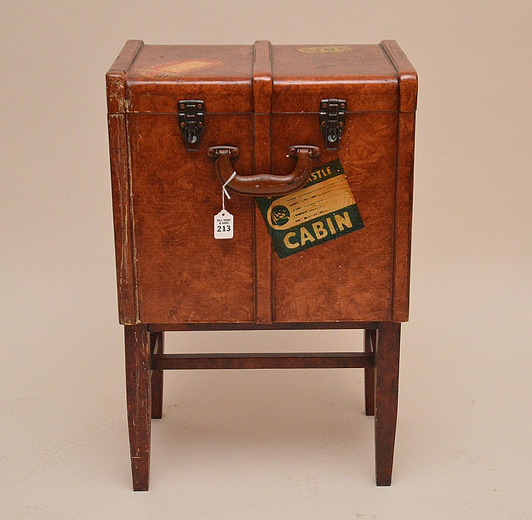 Faux Travel Trunk On Stand.  Ht. 27