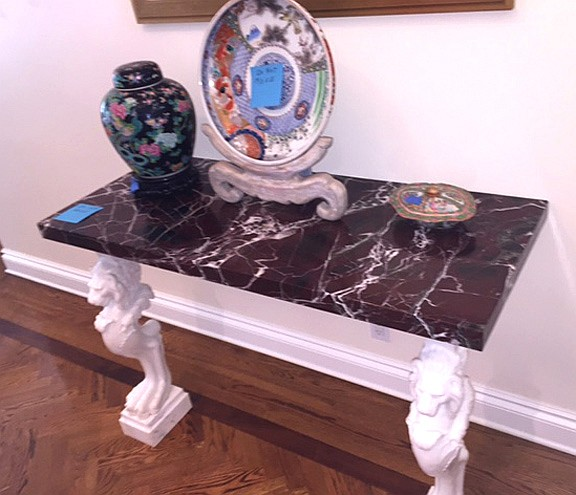 Italian Carved Marble Console.  The base two carved white marble lions.  The rectangular red rectangular marble.  Ht. 33