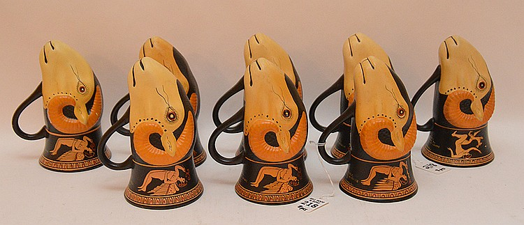 8 Egyptian Pottery Mugs in the form of Rhyton 450 BC hand made in Greece by