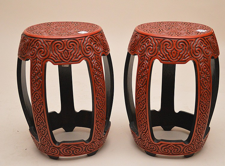 Pair Vintage Carved Cinnabar Tables. Ht. 18