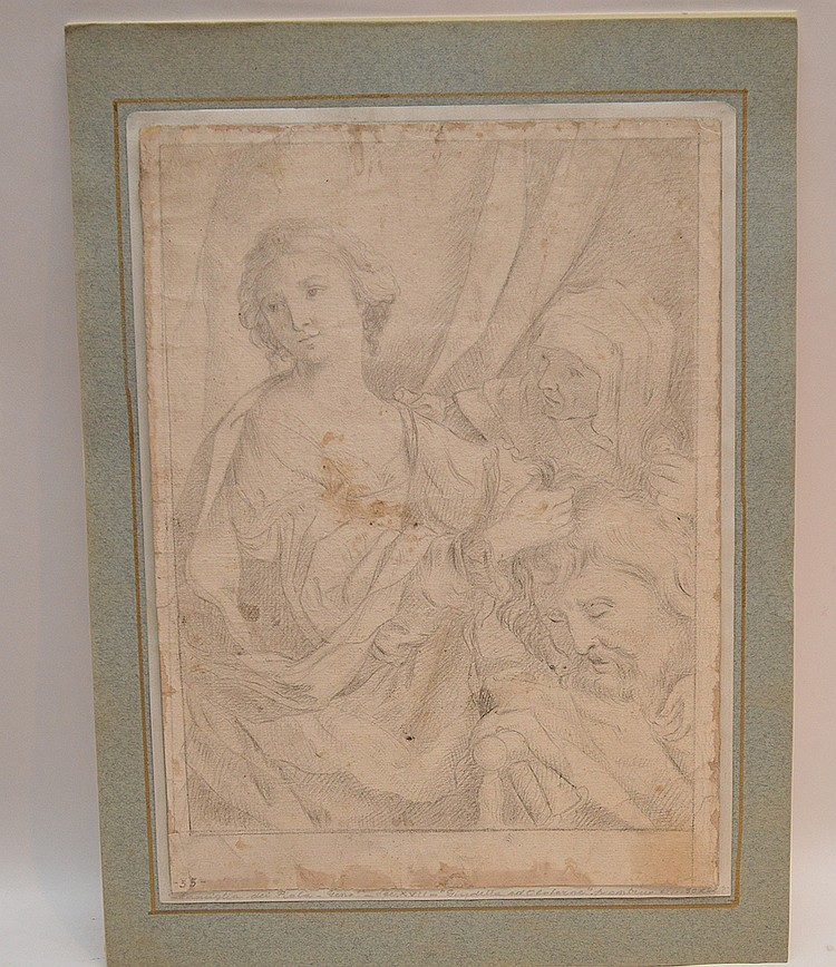 "Elisabetta Sirani (Italian 1638-1665) prepatory pencil sketch for oil ""Judith with the Head of Holofernes"", image size 13 ½ x 9 ¾ """