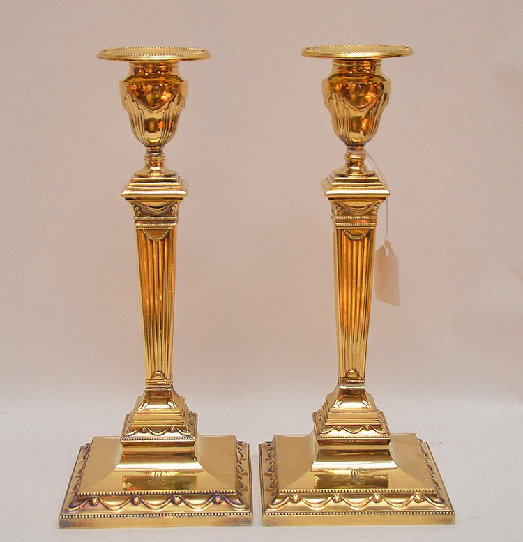 Pair Tiffany & Company Sterling Candlesticks with a gold wash.  Ht. 12