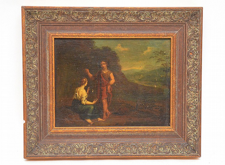 18th/19th Century oil on board, Couple under a tree, 6in. X 8in.