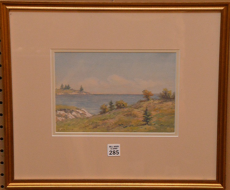 "HORACE BURDICK, American 1844-1942, ""A Cape Cod View"", watercolor 7"" x 10"", signed lower left, framed."