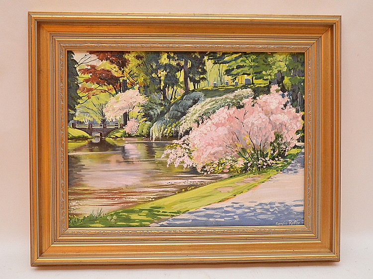 Sergio Roffo (AMERICAN/ITALIAN, 1953) oil on canvas, Spring river scene, 12in. X 16in.