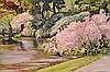 Sergio Roffo (AMERICAN/ITALIAN, 1953) oil on canvas, Spring river scene, 12in. X 16in.