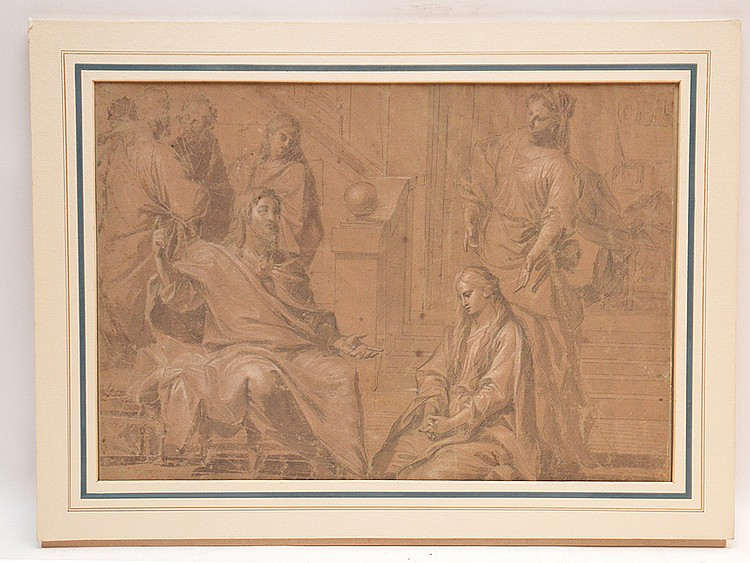 "Italian School, Bologna, 18th century, ""Christ in the House of Martha and Mary"", ink, pencil and white highlights on paper, bears label on reverse ""Disegno del XVIII Sec. –Scuola Bolognese – (17th Century Drawing, School of Bologna) image"