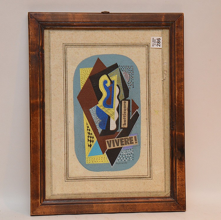 Attributed Gino Severini (Italian 1883-1966) composition, collage and gouache on paper, signed, image size 15 ½ x 11 ¼""