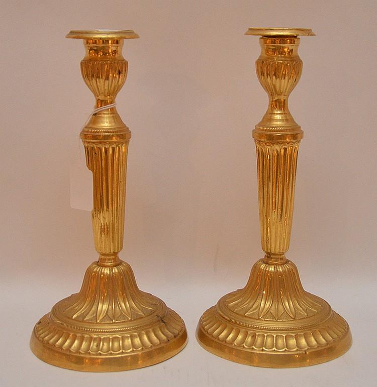 Pair Continental Gilt Bronze Candlesticks. Ht. 11