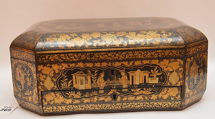 19th Century Black Lacquer Box with Chinoiserie Decoration. Ht. 6