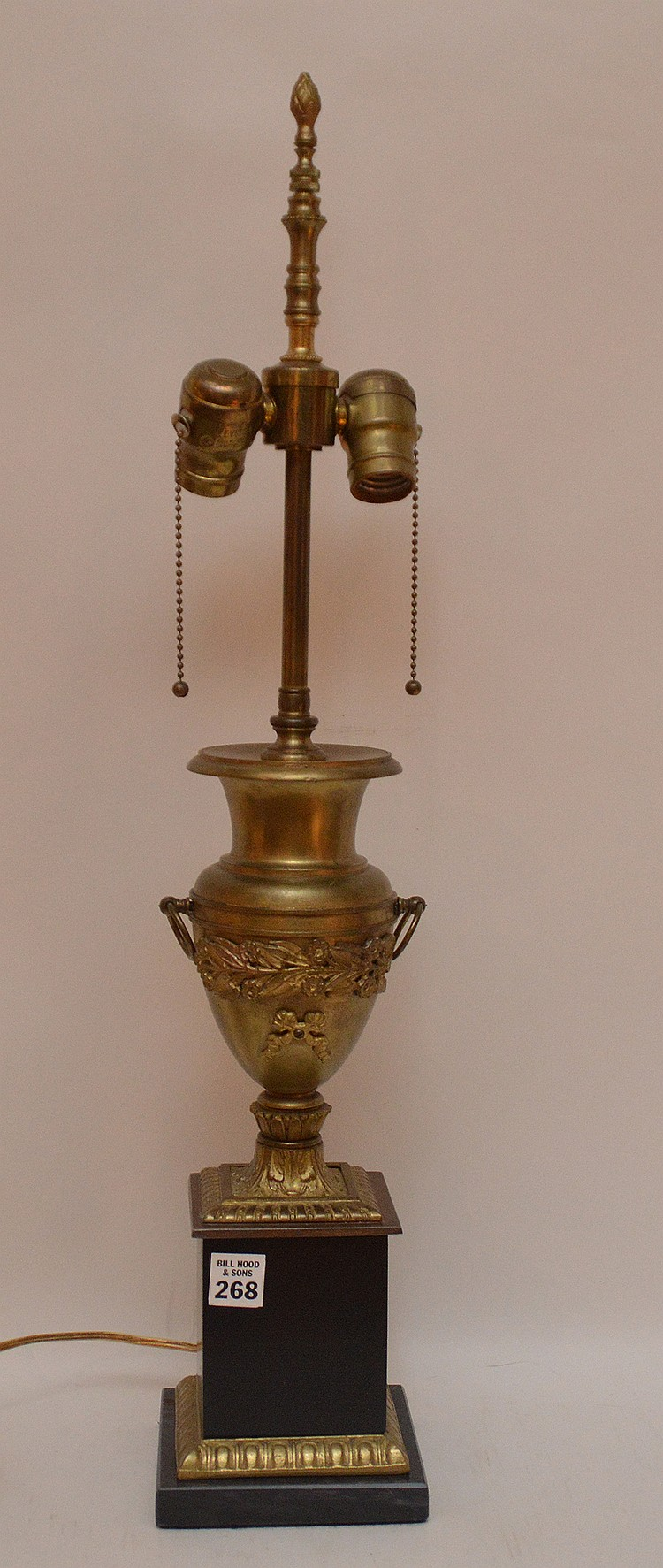 Bronze Urn Form Lamp with a marble base. Ht. 20