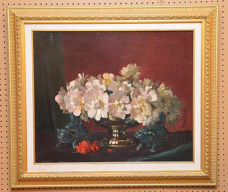 Herbert Davis Richter (BRITISH, 1874-1955) oil on canvas, Floral still life, 25in. X 30in.