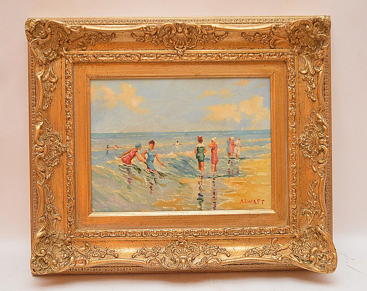 Andre Chalet (French, b. 1954) Beach Time, oil on board, signed A. Chalet, 9 in. x 11-1/2 inches.