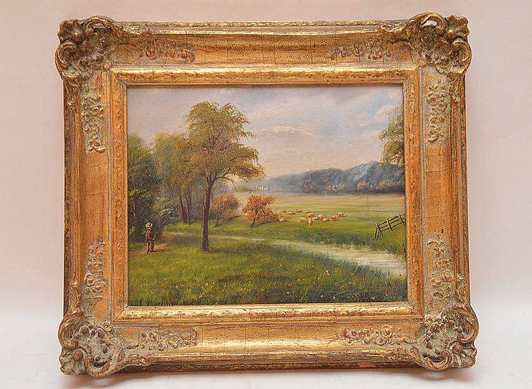 J. Durham 19th Century English School, oil on board, small landscape with sheep, 8in. x 10in.