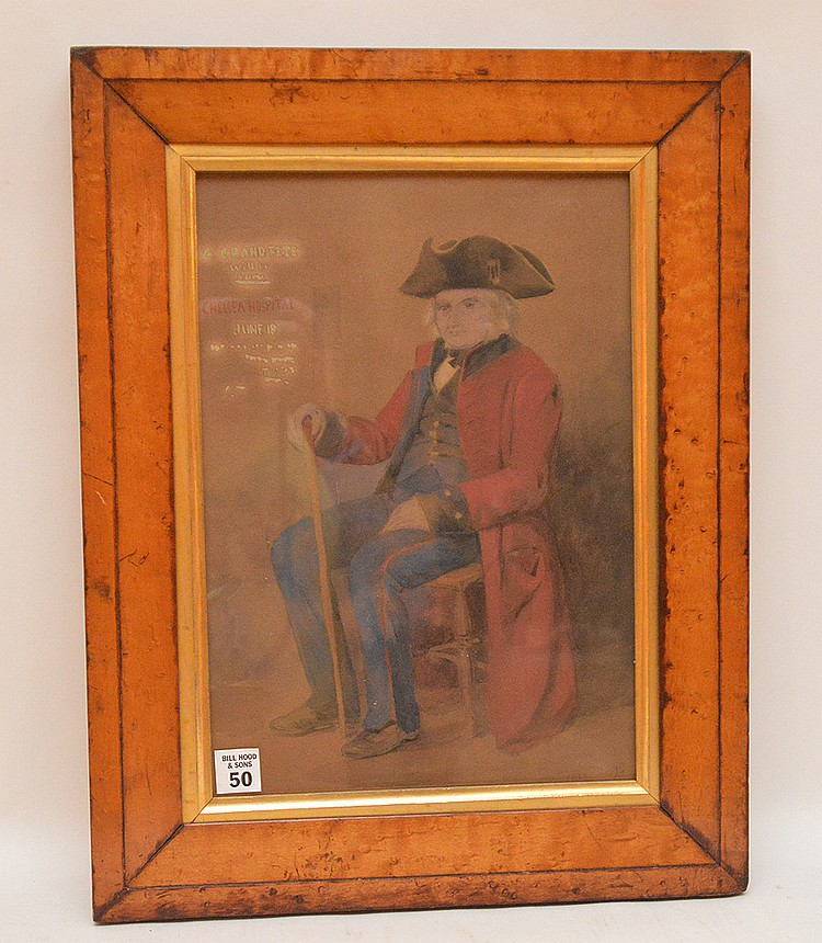 English School Watercolor signed HP 1885,