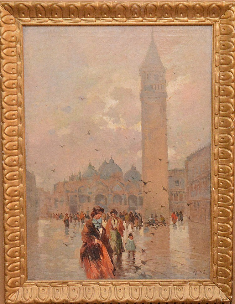 Vintage Italian painting signed Mariani, oil on canvas, St.Marks Square Venice, canvas is 32in. x 23in.