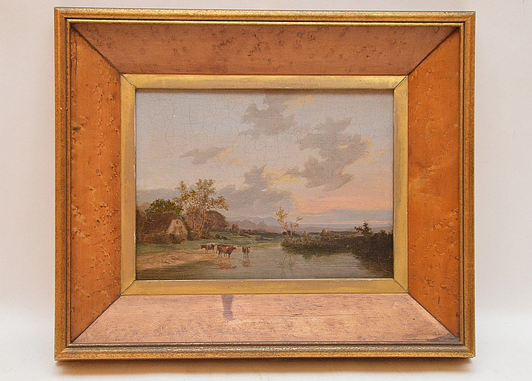 English School 19th Century, small landscape with cows watering, no apparent signature 8-1/2in. x 10-1/4in.