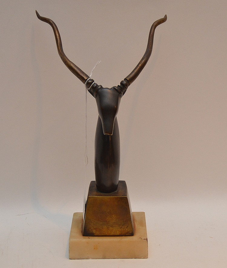 """SALVADOR DALI, Spanish 1904-1989, """"African Antelope"""", ORIGINAL bronze sculpture 10"""" high on a 1"""" marble base. GUARANTEED not a recast. From a limited edition numbered 4/50 and signed and dated 1960. No pieces of this RARE work of art have"""