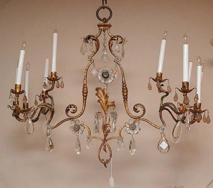 Unusual gilt metal 8 light chandelier, 28