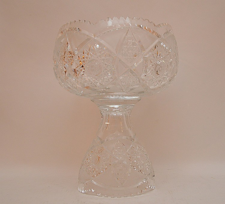 2pc. Cut glass punch bowl, 14